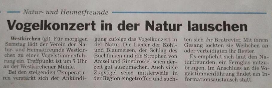 Vogelstimmenführung in Westkirchen